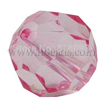 Transparent Acrylic Beads,  Faceted Round,  PearlPink,  24mm in diameter,  hole: 3mm,  about 71pcs/500g