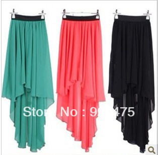 free shipping, 2013 new  arrival fashion women bohemian asymmetric dovetail chiffon skirt  ,cb263