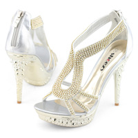 SHOEZY women sexy high heels gladiator sandals platform open toe strappy wedding shoes silver gold crystal for ladies prom new