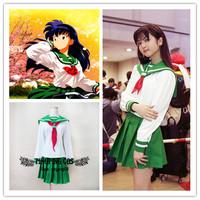 Inuyasha Cosplay Higurashi Kagome Cosplay Costume Sailor Suit Anime Cosplay - S M L(Free Shipping).