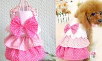 HOT Small Pet Dog Clothes Girl Princess Bow Suit Set Dress Puppy Apparel Pink