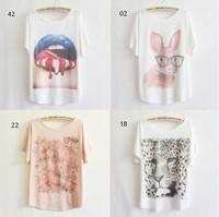 [Magic] 2013 thin plus size loose batwing sleeve women's short-sleeve T-shirt print tee womens t shirt 53 models free shipping