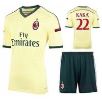 2014-2015 AC milan home black+red soccer uniform kits  soccer sport jerseys 100% emboidery logo patch &short 10set/lot