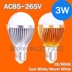led lamp bulbs 3w bubble ball white led lights e27 B22 e14 AC85-265V silver/gold shell color,warm/cool(China (Mainland))