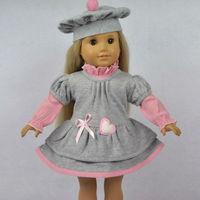 "Doll Clothes Fits 18"" American Girl Dolls, Doll Dress, Hat + Pink Shirt + Gray Dress,3pcs, Girl Birthday Present, Xmas Gift, G06"