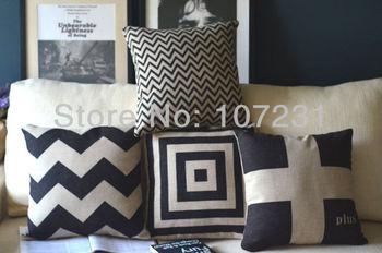 """4pcs/lot Sripe Lattice Vintage Design 100% Natural Vintage Stlye Linen Pillow Case Cushion Cover  Home Decor 18"""" x18"""" 45CM"""