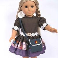 "Doll Clothes Fits 18"" American Girl Dolls, Doll Dress, Party Dress + Handbag ,2pcs, Girl Birthday Present, Xmas Gift, G04"