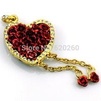 Rose heart usb flash drive 16GB 32GB, Free Shipping Romantic heart-shaped roses USB 2.0 2GB 4GB 8GB 16GB 32GB usb flash drive