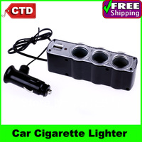3-Way Car Cigarette Lighter Three Socket Splitter DC 12V/24V +USB Charger Supply and Triple socket