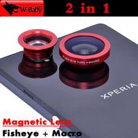 Fish eye Lens + Macro len 2 in 1 lens Detachable magnetic Lens for iPhone 4s 5 5s 5c Samsung HTC Mobile Phone lens,10 pcs