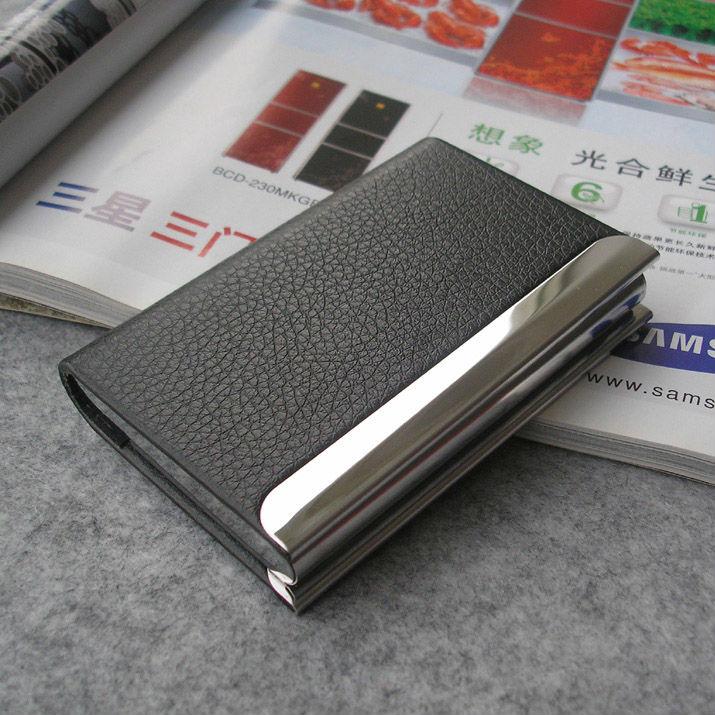 Serrure magnétique unisexe. bussiness cuir carte de visite banque carte d'identité cas boîte cadeau portefeuille 1192 organisateur titulaire