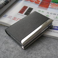 Unisex Magnetic lock leather bussiness namecard bank ID card box case holder organizer wallet gift 1192