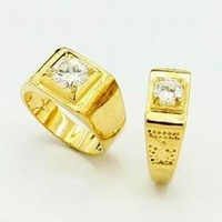 New Arrival Fashion 24k Gold Plated Mens Jewelry Sets Yellow Gold Golden Ring Fashion Rings Free Shipping YHDS022