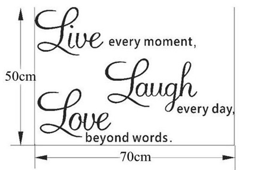 Live Laugh Love Wall Art Quote Butterflies (Transparent Border) 50*70cm Removable Wall Art Home Wall Sticker Free shipping(China (Mainland))