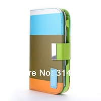 5pcs New Hybrid Leather Wallet Case For Samsung Galaxy S3 i9300 S3 mini i8190 S4 i9500 S4 mini  i9190 Note 2 N7100  Note 3 N9000