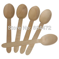 "Disposable Wooden Spoon Heavy Weight 100 / Pack  6 1/2"" Flatware Cutlery Camping Free Shippping 1510"