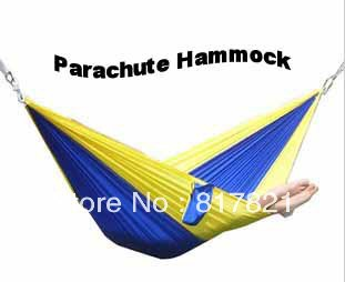 Parachute Hammock Light Weight Durable  Indoor Oudoor Portable Camping  Nylon Fabric Double Person 300lb Capacity Free Shipping