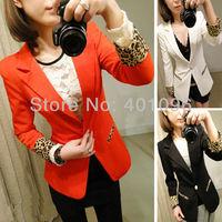 2013 spring women's elegant leopard print plus size one button blazer jacket suit slim small