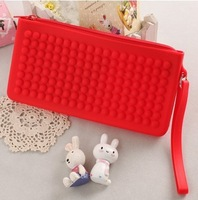 Gustless candy color jelly zipper lanyard silica gel bag mushroom neon soft wallets and purses