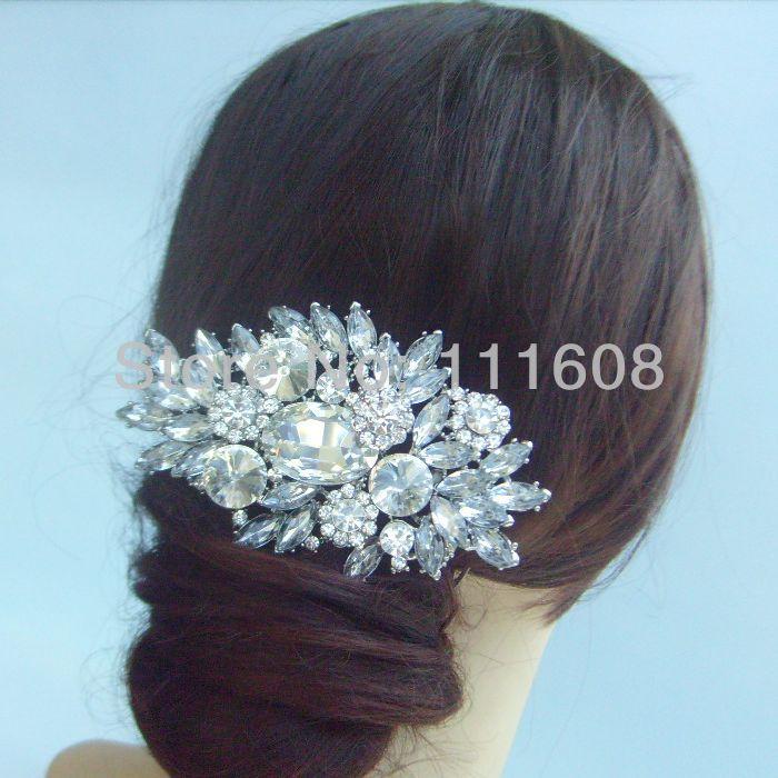 Hair accessories Wedding Bridal Flower Hair Comb w Clear Rhinestone Crystals FSE04060C1 Free Shipping(China (Mainland))