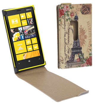 Big Order Retro Eiffel Tower Style and other pattern Vertical Flip Up and Down Leather Case for Nokia Lumia 920