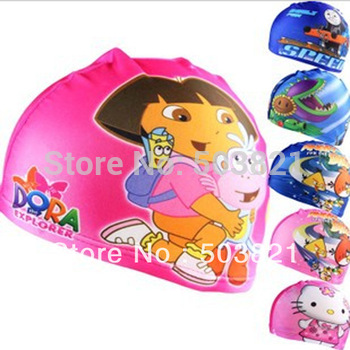 10pcs/lot fashion swim cap kids cartoon Silicone Swimming Cap,Children swimming hat, multi style swimcap free drop shipping