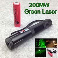 200mw 532nm burning green laser flashlight Burning Green laser Pen 18650 Battery + charger Free shipping
