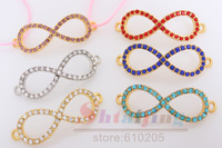 Wholesales 5*1.7cm  Jewelry Findings Mix Colors Rhinestone Infinity Charms Connectors for bracelets