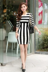 Womens Celeb Monochrome Black White Striped Optical Illusion Party Bodycon Dress(China (Mainland))