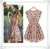 Europe American women 2013 summer newest short sleeve elk pattern print korean style chiffon dress wholesale Free Drop Shipping