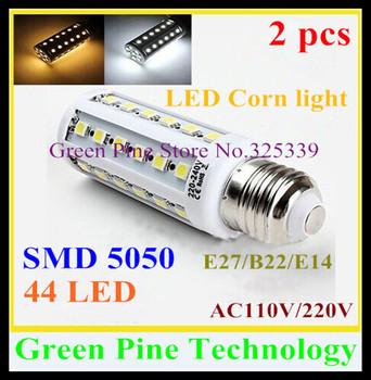 Free shipping 2 pcs E27 E14 B22 SMD 5050 44 led 9W light AC110-240V Energy Saving Corn Bulb led Lamp corn light led Lighting