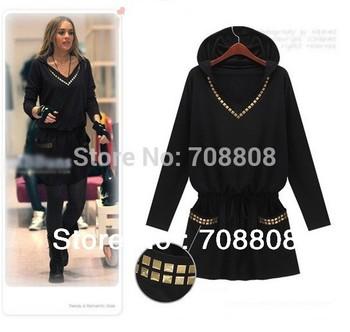 women dress2014 new fashion plus sizeLong sleeve  ladies dress hooded v neck one piece casual dress for women XXL  XXXL 4xl