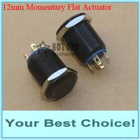 100pcs/Lot 12mm Momentary Illuminated Black Push Button Switch,Ring LED (DHL Free Shipping)
