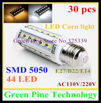FedEX Free shipping 30 pcs E27 E14 B22 SMD 5050 44 led 9W AC110-240V Energy Saving Corn Bulb led Lamp corn light led Lighting