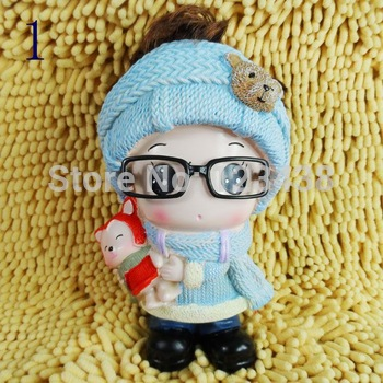 Money Coin Box Piggy Bank Home Decoration Child Gift Girl with Glasses  Doll