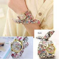 unique beautiful fashion watch,flowers pattern chiffon ribbon band women's quartz watches