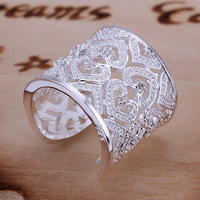 Free Shipping 925 Sterling Silver Ring Fashion Inlaid Zircon Multi Heart Ring Women&Men Gift Silver Jewelry Finger Rings SMTR106