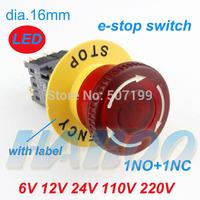 led lighted illuminated emergency stop push button switch 24V,110V,220V