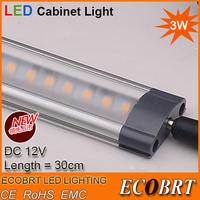 Christmas Sale Ultra-slim Linkable 3W 30cm long kitchen led under cabinet light lighting lamps 12v furniture light bar 2pcs/lot
