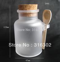 Free shipping - 200G bath salt Bottle, 200ml powder plastic bottle with cork, bath salt jar with wood spoon