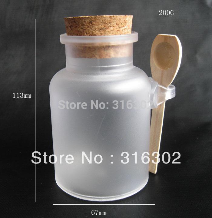 Free shipping - 200G bath salt Bottle, 200ml powder plastic bottle with cork, bath salt jar with wood spoon(China (Mainland))