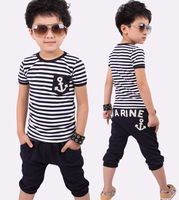 Free shipping Children boy navy shirt short sleeve T-shirt +pants children/kids suit, kids clothes 5sets/lot