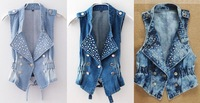 3 Color 5 Size  Women's Denim Vest Punk Studded Cropped Rivet Jeans Waistcoat Top