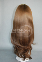 Stock 100% European hair Jewish wig,kosher wig,Long wig  color  6# brown color  DHL FREE SHIPPING ,extreme high quality wig