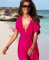 2pcs  free shipping New Arrival sexy beach bikini dress sexy swimwearDeep V-neck Plunge Women's Beach wear,Cover-Ups free size