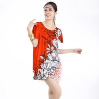 SJB51 summer female Korean ice silk dress Crystal Hemp hot drill roses loose large size dress wholesale