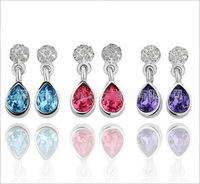 3 Colors High Quality 18KGP Austrian Crystal Water Drop Earrings For Women 2013 Hot Fashion Jewelry Free Shipping E109 E110 E111