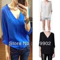 2013 New Womens Fashion Basic S M L Trendy Metal Rivet Shoulder Chiffon Shirt Blouse Top Blue White Black Free Shipping
