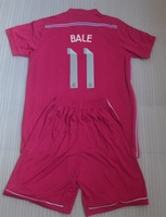 BALE #11 away pink youth Real Madrid Good Quality 2015 Football Soccer Jersey Uniforms kits For Kids children + can custom name
