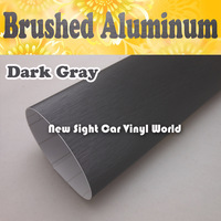 FedEx FREE SHIPPING High Quality Dark Gray Brushed Steel Vinyl Film For Car Wrapping With Air Bubble Free Size: 1.52*30M/Roll
